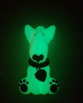 A glow in the dark fridge magnet of an english bull terrier full body
