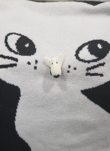 A pin badge of a white english bull terrier face on a jumper