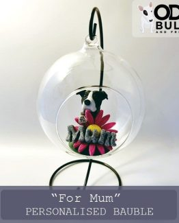 """For Mum"" Personalised Glass Bauble with Stand"