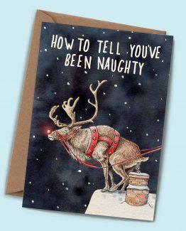 Naughty Christmas Reindeer – Greeting Card