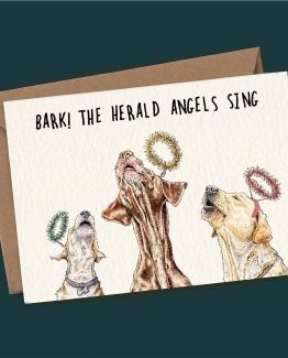 Bark! The Herald Angels Sing – Dog Christmas Greeting Card